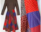 1970s Dress, Calico Patchwork Skirt, Hippie, Boho, Carlette, Extra Small