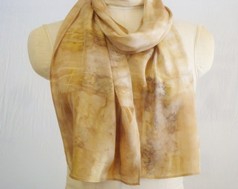 "Eco Fashion Silk Scarf - Natural Dye - Buff Bronze - Maple - Shibori - FC111448 - 10.5""x58"" (26 x 147cm)"