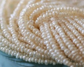 """TINY 2mm White Pearl Strand - Jewelry Making Supplies 1/2 strand (7"""" or 14"""" strand)"""