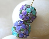 Lampwork Glass Flower Beads - Jewelry Making Supply - 14mm Round Beads (1 bead) Lilac