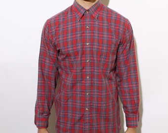 80s MEN'S plaid button up casual shirt red classic long sleeve basic pocket S M