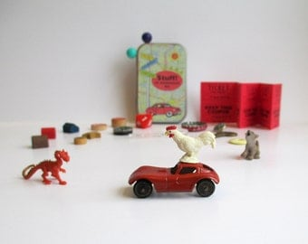 Small toys for imagination play. Kids tiny toys with vintage toy car and other new and vintage treasures for children. Travel toys.