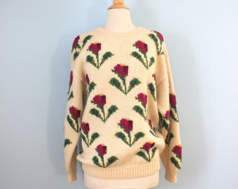 1980s wool sweater / 80s slouchy floral sweater / Crocus Sweater