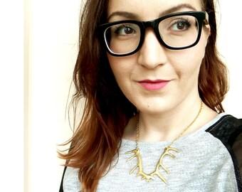 Deer Antler Necklace, Gold Antler Necklace, Silver Antler Necklace