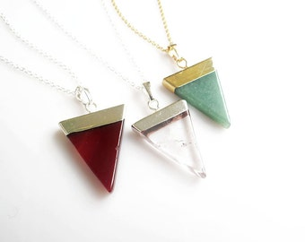 Mineral Necklace, Minimal Triangle Geometric Crystal Necklace, Agate Necklace, Aventurine Necklace, Unisex Mens Necklace