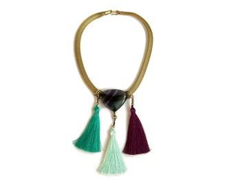 Fluorite Tassel Necklace, Multi Tassel Necklace, Boho Bib Necklace, Mesh Chain Necklace
