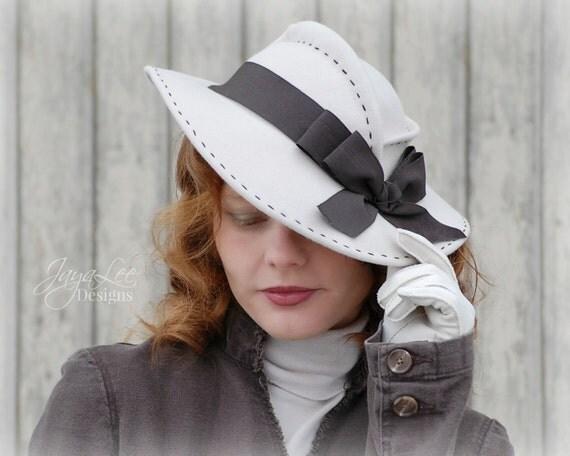 Women's Wide Brim Felt Tilt Hat 1930's Vintage Style