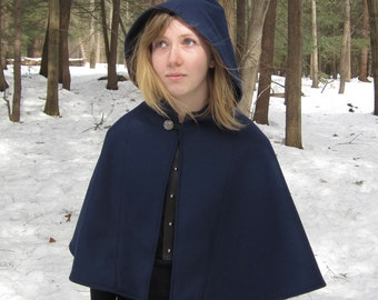 Capelet - Blue Capelet - Wool Capelet  - Hooded Capelet - Capelet with Hood