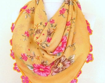 Mustard scarves - Square scarves -Turkish Oya  Scarf..wedding gift -asuhan-woman scarf-cotton scarf