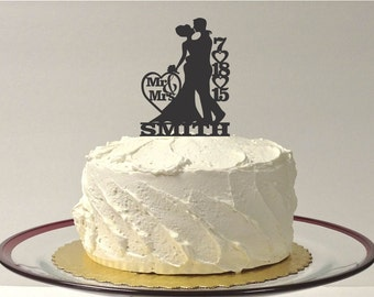 MADE In USA, Personalized Wedding Cake Topper Personalized With YOUR Family Last Name + Wedding Date Silhouette Wedding Cake Topper Bride
