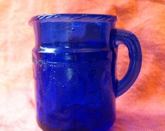 Vintage Small COBALT GLASS PITCHER, Pretty Blue Glassware for Tea Party, Doll Play Just 3 Inches Tall