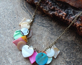 Seashell necklace, mermaid necklace, colorful sea shells, bib necklace, mermaid jewelry, beachy, bohemian style, indie, ocean lover gift