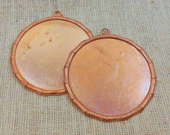 Large Copper Plated Bamboo Frame Bezel Pendant/Tag Blank (2) Asian, Photo Frame