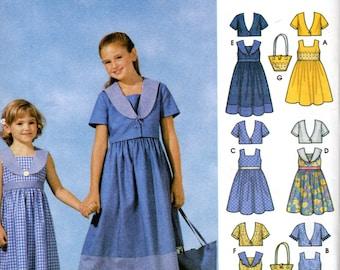 OOP Girls' Dress with Collars Pattern - Simplicity 7119 - Mutiple Sizes Bolero Bag UNCUT