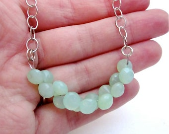 SALE -- Mint Chalcedony Necklace -- Mint Green Necklace -- Light Green Bead Necklace -- Mint Green Gemstone Jewelry