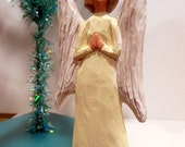 Hand Carved Christmas Angel Ornament Wood Art Handmade Sculpture Birthday Anniversary Collectible