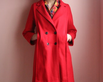 80s Wool Coat / Rothschild Made in the USA Lightweight Coat / Little Red Riding Non Hood Jacket :)