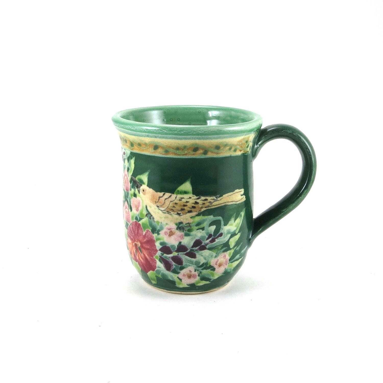 Unique Coffee Mug Ceramic Floral Tea Cup Dark Green