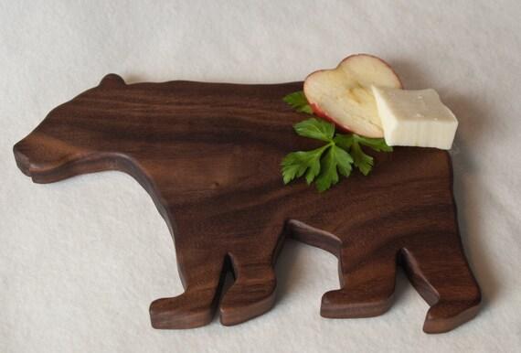 natural wood bear shaped cutting board walnut by jobemacstudios,Bear Kitchen Decor,Kitchen decorating