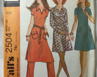 McCall's 2504 Fun 70s Collared A Line Dress Vintage Sewing Pattern Bust 34