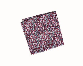 Mia - Red/Pink/Purple Floral Pocket Square