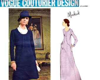 60s MICHAEL of LONDON Dress or Maxi Evening Gown Pattern Vogue Couturier Design 2434 Plus Size Vintage Sewing Pattern Size 18 Bust 40 inches