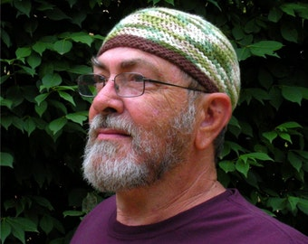 Mens Cotton Cooling Cap Crocheted in Woodland w Chocolate Band