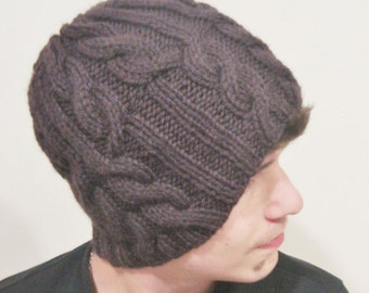 Hand Knit hat man hat Brown Cable knit Hat Beanie hat - ready to ship