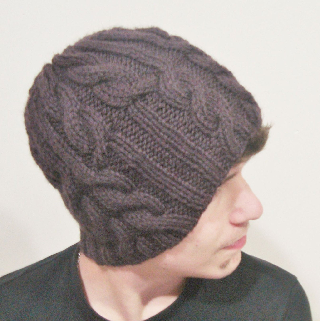 Knitting Pattern Mens Beret : Mens gift for him Knit hat Mens beanie Winter hat Mens