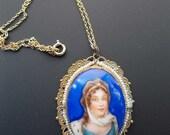 Vintage Portrait Necklace Brass Filigree Seed Pearl Cobalt Blue lady Woman Czech Czechoslovakia Porcelain