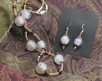 Sunlite Snow Lampwork Dichro Necklace and Earring Set