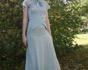 30s Lace Dress Pale Blue Art Deco Vintage 1930s XXS