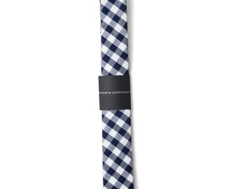 SKINNY TIE Pomp and Ceremony, Men's skinny tie, Japanese cotton, large ginham, navy and white check