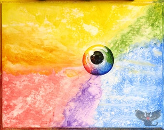 """Original surreal Eye painting in acrylic,""""Mirror to My Soul"""""""