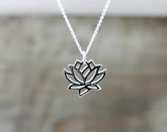 Silver Lotus Necklace, Sterling Silver Necklace, Lotus Pendant, Yoga Jewelry, Yoga Necklace, Namaste, Lotus Blossom Necklace