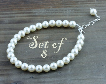 Bridal Party Pearl Bracelets, Set of 8, Classic Cream or White Swarovski Pearl Bracelet with Sterling Silver Findings