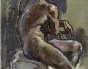 Figure Painting, Seated, Light Study. Original Oil on Linen, Classic Male Nude Painting