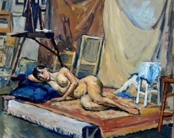 In the Studio, Reclining Female Nude. 12x12 Original Oil on Canvas, Realist Fine Art, Signed Original Figure Painting
