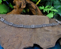 Lois Hill Bracelet // Woven Sterling ~ Six Ornate Stations ~ Wire Filigree &Granulation // Vintage~ Designer Signed Hallmarked 925 Indonesia