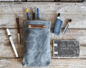 Waxed Canvas Scribbler Pouch in Slate, Accessories Cases, Waxed Canvas Bag, Pencil Case, Cosmetic Case, Makeup Bag, Zipper Pouch. For Travel
