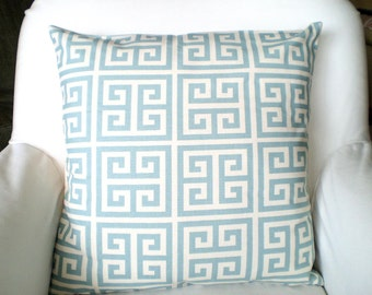 Blue Greek Key Pillow Covers, Cushions, Throw Pillows, Village Blue Natural Cream Greek Key Towers, Couch Bed Sofa Pillows, ALL SIZES