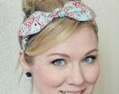 Retro Headband, Rockabilly Bow Headband in Aqua and Red Cherry Blossom, Headband with Bow, Scarf Headband