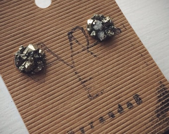 Pyrite Specimen Stone Earrings Studs// Hypoallergenic Steel // unique gifts