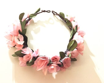 Garden Rose, Cherry blossom pink, Bridal floral crown, floral halo, Spring wedding, Photo shoot
