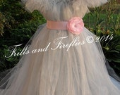 Grey Flower girl dress, Shabby Chic Tutu Dress with Sleeves and Pink Flower Sash, Weddings, Parties, Birthdays, Baby up to Girls Size 16