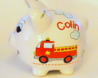 Piggy Bank Personalized with Emergency Vehicles Fire Truck, Ambulance, Police Car, EMT
