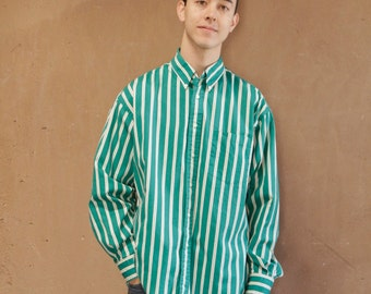 men's VINTAGE 90s oxford GREEN & white STRIPED button up classic