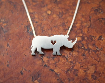 Rhinoceros necklace, sterling silver necklace, hand cut pendant