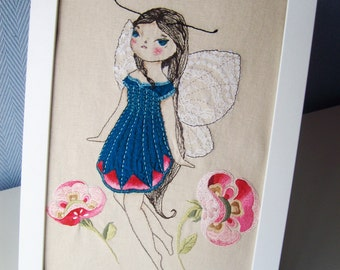 Butterfly fairy. Embroidery Art - Handmade Textile Art - Hand Stitched Embroidery.  Original hand embroidered
