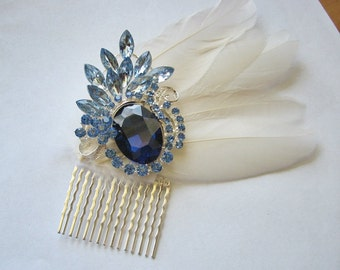 Rhinestone hair comb | something blue | ivory hairpiece | bridal